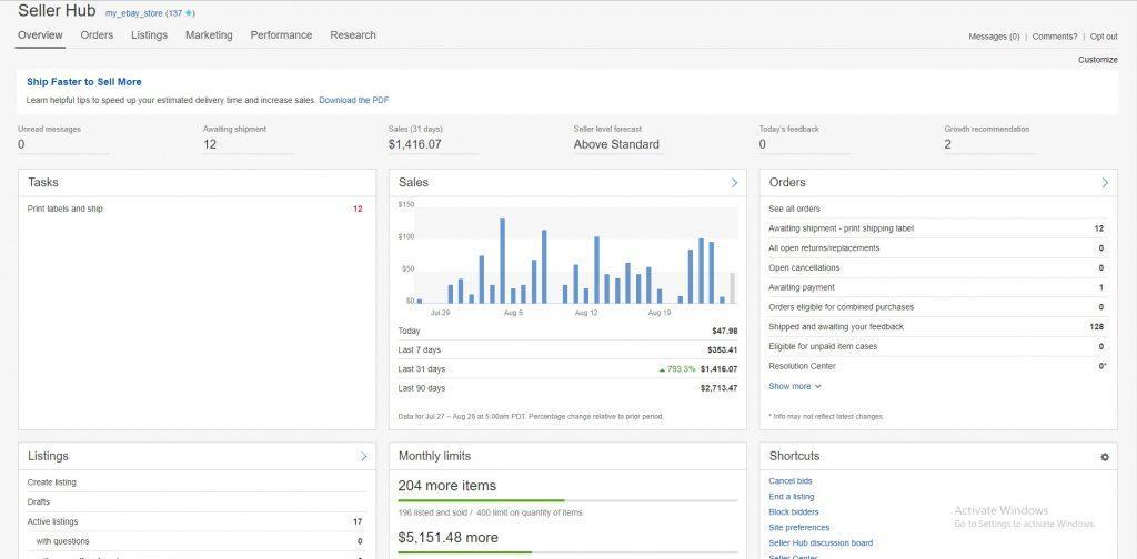 ebay seller hub